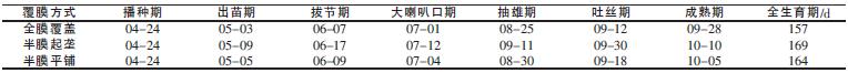 表1不同覆膜方式玉米生育期_论文发表